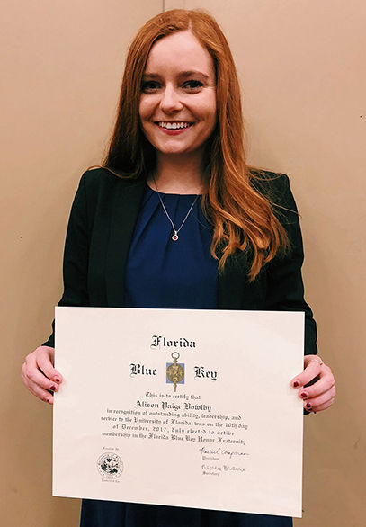 Alison Bowlby Inducted into Florida Blue Key